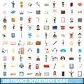100 finance department icons set, cartoon style Royalty Free Stock Photo