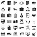 Finance department icons set, simple style Royalty Free Stock Photo