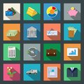 Finance flat icons set Royalty Free Stock Photo