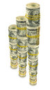 Finance growth isolated image of rolls of dollars on white background Royalty Free Stock Images
