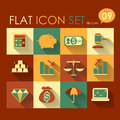 Finance icon set vector flat style design Royalty Free Stock Photo