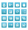 Finance icons on blue squares this is file of eps format Stock Images