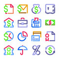 Finance icons. Color contour series. Royalty Free Stock Photo