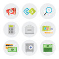 Finance icons in flat design vector set of objects modern isolated on white background Royalty Free Stock Image