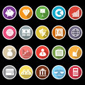Finance icons with long shadow stock Stock Image