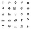 Finance icons with reflect on white background stock vector Royalty Free Stock Images