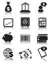Finance icons set of or business black for your website Stock Photos