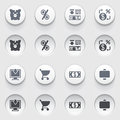 Finance icons on white buttons set vector for websites guides booklets Stock Images