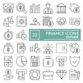 Finance line icon set, money symbols collection, vector sketches, logo illustrations, underwater signs linear pictograms
