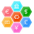 Finance and money icon set colorful Stock Photos