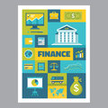 Finance - mosaic poster with icons in flat design style. Vector icons set. Royalty Free Stock Photo