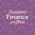 Finance pattern illustration with vector outline simple flat icons on texture background