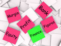 Finance post it note shows equity or margin showing Stock Image