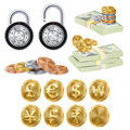 Finance Secure Concept Vector. Gold Metal Coins
