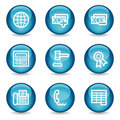 Finance web icons, blue glossy sphere series set 2 Royalty Free Stock Image