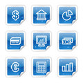 Finance web icons, blue glossy sticker series Royalty Free Stock Photography