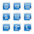 Finance web icons, blue sticker series set 2 Stock Photo