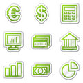 Finance web icons, green contour sticker series Royalty Free Stock Photos