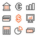 Finance web icons, orange and gray contour series Stock Images