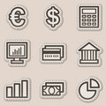 Finance web icons set 1, brown contour sticker Stock Photos