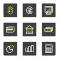 Finance web icons set 1, grey square buttons Royalty Free Stock Images