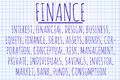 Finance word cloud written on a piece of paper Stock Images