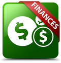 Finances dollar sign green square button Royalty Free Stock Photo