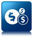 Finances dollar sign icon blue square button Royalty Free Stock Photo