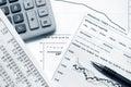 Financial accounting stock market graphs analysis Royalty Free Stock Photo
