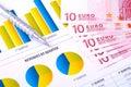 Financial Analysis  with charts and metallic pen Stock Photos