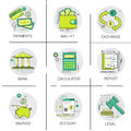 Financial Banking Business Finance Planning Online Payment Icon Set