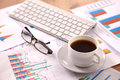 Financial and business color charts and graphs on the table Royalty Free Stock Photo