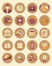 Financial and business icons set of modern flat stylized suitable for themes Stock Photography