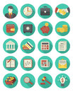 Financial and business icons turquoise set of modern flat stylized suitable for themes in modern flat style with long shadows Stock Images