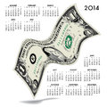 Financial calendar with curvy american dollar bill on white background Royalty Free Stock Images