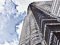 Financial center skyscraper faded digital illustration. Tall modern building view from below. Royalty Free Stock Photo