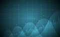 Financial chart with uptrend line graph, bar chart and stock numbers on gradient blue color background Royalty Free Stock Photo