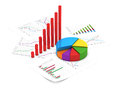 Financial charts d illustration of diagram and pie chart with sheets of report Royalty Free Stock Photography