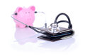 Financial check up piggy bank and wallet concept focus on the wallet Stock Images
