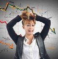 Financial collapse exhausted businesswoman despairs for the Stock Photography