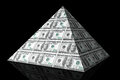 Financial concept abstract money pyramid on a black background Stock Images
