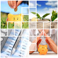 Financial concept hand and piggybank over nature background Royalty Free Stock Images