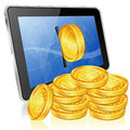 Financial concept make money on the internet with tablet pc and gold coins vector icon white background Royalty Free Stock Photo
