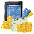 Financial concept make money internet tablet pc stock market application screen money icon isolated white vector Stock Photos