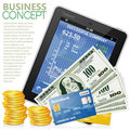 Financial Concept with Tablet PC, Dollars, Coins Royalty Free Stock Photo