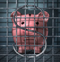 Financial crime and securities fraud business concept with a piggy bank character in a prison jail cell with a dollar sign symbol Royalty Free Stock Photos