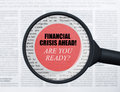 Financial crisis ahead under magnifying glass Royalty Free Stock Photo