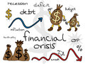 Financial crisis cartoon set Stock Images