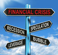 Financial Crisis Signpost Shows Recession Speculation Leverage A Stock Images