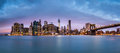 Financial district before sunrise new york and the lower manhattan at dawn viewed from the brooklyn bridge park Royalty Free Stock Photography